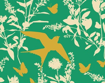 Joel Dewberry Fabric - 1 Fat Quarter Bungalow -  Swallow Study in Emerald / Free Spirit Fabric