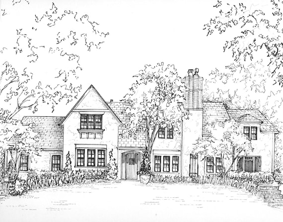 """Custom House Drawing in Ink, 11""""x 14"""" house portrait, Architectural home sketch in ink from photo"""