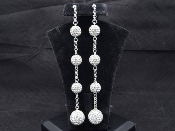 10mm and 14mm White Clear Pave Crystal Dangle Earrings Inspired by Lorraine Schwartz & Kim Kardashian