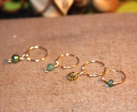 Set of Four Cartilage Earrings Green Beaded by BirchBarkDesign