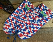 Vintage Pair of Shoe Mittens / Shoe Protectors / Up-Cycled Wine Bags / Holiday Gift Bags