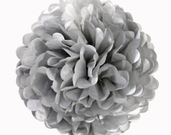 "8"" Metallic Silver Tissue Paper Pom Poms-Small Paper Flower Pom- Wedding Decoartion-Baby Shower-Bridal Decor-Hanging Room Paper Pom-Birthday"