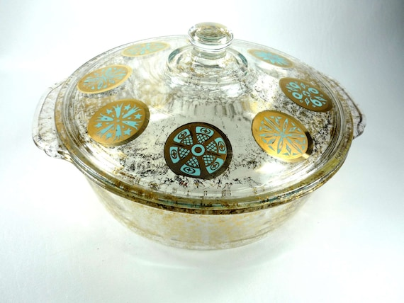 Fire King 2 Quart Covered Casserole Dish Designed by Georges Briard Gold and Aqua Medallion