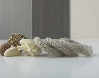 Tan Wool Bangles, Tan Knit Bracelet Set, Tan Yarn Bangles, Set of 3