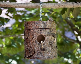 Natural Milled Log Birdhouses