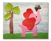 Baby Elephant with Butterfly, Elephants, Jungle Print, Nursery Print