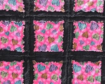 Zebra Heart Rag Quilt