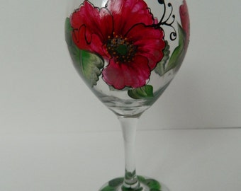 Hand painted wine glass, red poppy, 20oz,