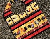TODDLER BIB: Roosters at the Ready, Personalization Available