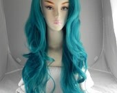 Mermaiden / Teal Green Blue / Long Wavy Lace Front Wig Full Body Curly volume hair durable heat resistant safe sexy thick
