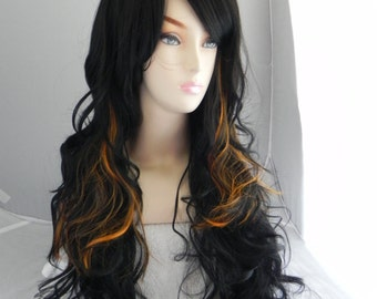 Spooky / Black and Orange / Long Curly Layered Wig Mermaid Hair Lolita Natural Scalp Piece