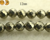15 inch strand of Iron pyrite faceted(64 faces) round beads,golden brass beads 12mm