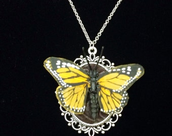 Monarch painted feather butterfly necklace