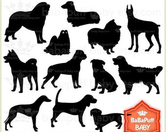Buy 2 Get 2 Free ---- Set 2 Dogs Black Silhouette ---- Personal and Small Commercial Use ---- BB 0398