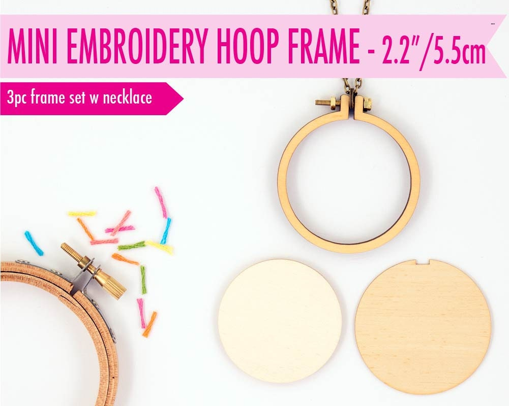 Diy miniature embroidery hoop frame with necklace