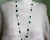 Malachite and Lapis Long Silver Necklace - Green and Blue Gemstones - Long Gemstone Necklace - Wire Wrapped Handmade Jewelry