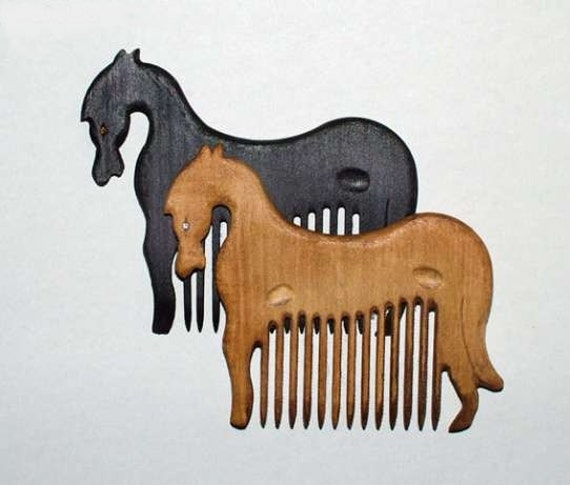 Wooden Hair Comb Horse Hand Carved Natural. BLACK only. Head Handle - Ready to Ship