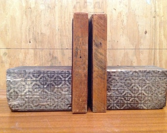 Handmade rustic wooden stenciled bookends