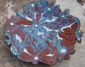 terracotta decorative flower pattern serving platter
