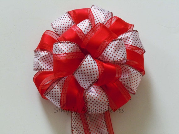 Red White Christmas Tree Topper Bow Valentine Tree Topper Valentine Topper Gift Bow Wedding Pew Bow Red White Polka dots  Party Decor Bow