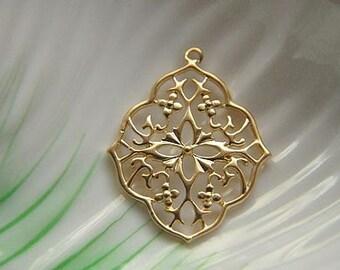 6pcs raw brass plating matt gold filigree   pendant finding