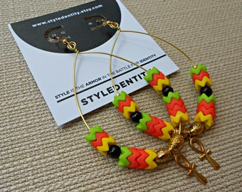 Summer Rasta Ankh Hoops