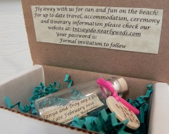 SAVE THE DATE message bottles with or without white, tan, or custom stamped shipping box