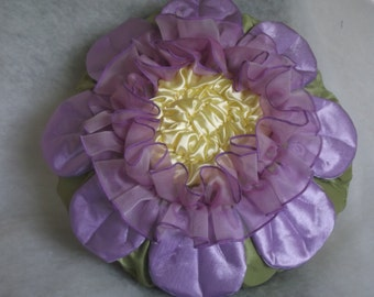 Throw pillow cover ruffled flower in lavender yellow and green round cushion gift ideas