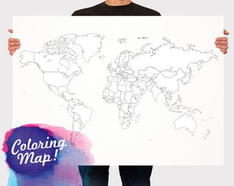 World Map for Coloring! Blank World Map Countries - World map for kids  - Travel map - Wall Hanging - Large - Medium Size