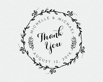 Custom Thank You Stamp, Wedding Favor, Self Inking Stamp, Wood Handle, Circle Stamp, Personalized, Floral, Whimsical (T160)