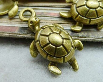 30PCS antique bronze 12x23mm tortoise charm pendant- W7238