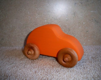 Wooden Toy Beetle Car Painted Orange