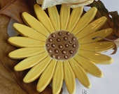Sunflower Ceramic Dish Pottery Jewelry Plate Summer Home Decoration Yellow with Brown Dots