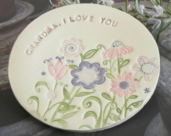 Pastel Ceramic Ring Dish Text Flower Plate Grandmother Gift  Pottery Ring Holder Pink Purple Jewelry Dish