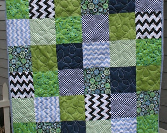 Blues Greens And Black Baby Quilt Crib Quilt