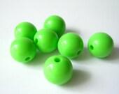 destash - lime green acrylic round beads - 14mm - last 7 beads