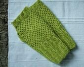 Lime green gloves for women, fingerless knit wrist warmers