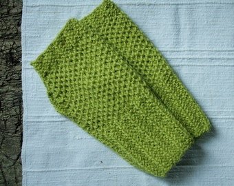 Lime green gloves for women, fingerless knit wrist warmers