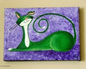 "Original Cat Painting for Sale : Fantasy Cats  ""Perky Cat in Green"""