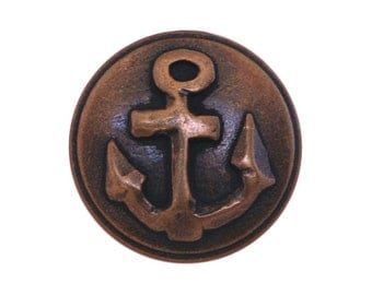 4 Anchor 3/4 inch ( 19 mm ) Metal Buttons Brass Color