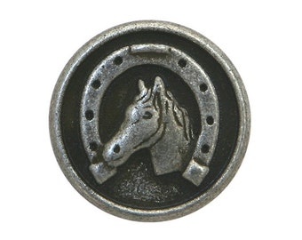 3 Dill Horse and Shoe 3/4 inch ( 20 mm ) Dill Metal Buttons Antique Silver Color