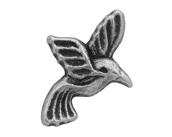 12 Hummingbird 3/4 inch ( 20 mm ) Metal Buttons Antique Silver Color