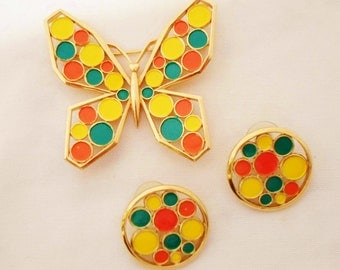 Vintage 1960's Crown Trifari Butterfly Brooch & Pierced Earring Set, Modern Mosaic's Collection, Orange, Yellow, Green Polka Dot, Goldtone