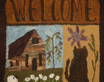 Log Cabin Welcome Cat, Sheep, Log House  Needle Punch Embroidery  Pattern by Prairie Moon Primitives
