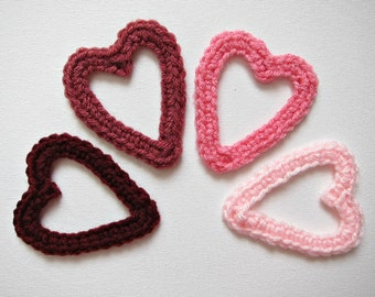 "1pc 3"" Crochet OPEN HEART Applique"