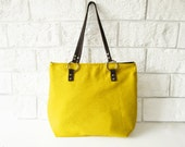 Lemon Yellow Tote bag, Canvas and leather tote, Lemon yellow, Casual Tote bag, Everyday Tote, Shoppers bag