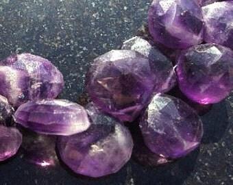 50% OFF SALE Chevron Bi AMETHYST Faceted Heart Briolette Beads 10-14mm 4 Inch Strand Amethyst Beads Rare Unique Focal Pendant Purple