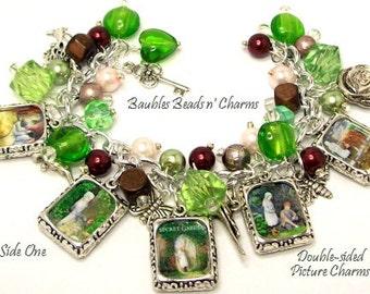 The Secret Garden Charm Bracelet,  Literary Charm Bracelet Jewelry, Books Bracelet Jewelry, Photo Charm Bracelet
