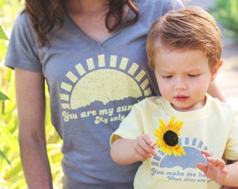 You Are My Sunshine Mommy and Me V-Neck Set