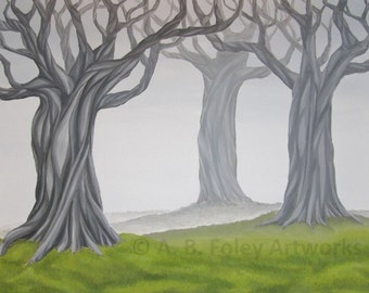 """Landscape Painting: Large Tree Painting of Gray Twisted Trees, Green Grass. Tree Art, Misty Nature Art, Original Acrylic Painting 24"""" X 30"""""""